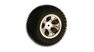 "RPM 73103 Chrome Front ""Bully"" Wheels(2) Pin Tires: Losi 1/18 Mini-T"