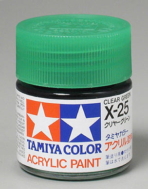 Tamiya 81025 Acrylic Paint 23ml X-25 Gloss, Clear Green
