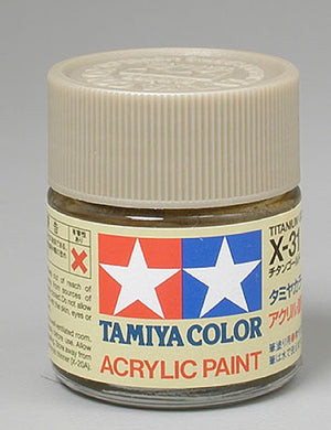 Tamiya 81031 Acrylic Paint 23ml X-31 Gloss, Titanium Gold