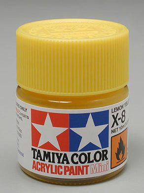 Tamiya 81508 Acrylic Paint 10ml Mini X-8 Gloss Lemon Yellow