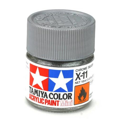 Tamiya 81511 Acrylic Paint 10ml Mini X-11 Gloss Chrome Silver