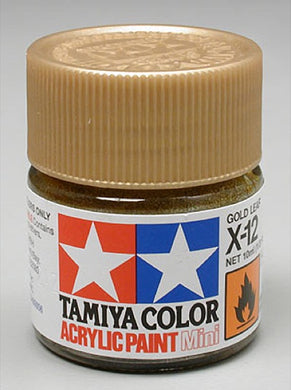 Tamiya 81512 Acrylic Paint 10ml Mini X-12 Gloss Gold Leaf