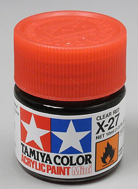 Tamiya 81527 Acrylic Paint 10ml Mini X-27 Gloss Clear Red