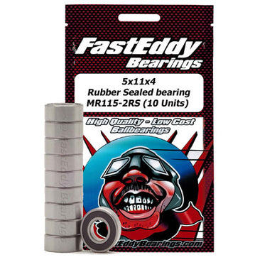 Fast Eddy Bearings TFE268 5x11x4 Rubber Sealed Bearing MR115-2RS (10 Units)
