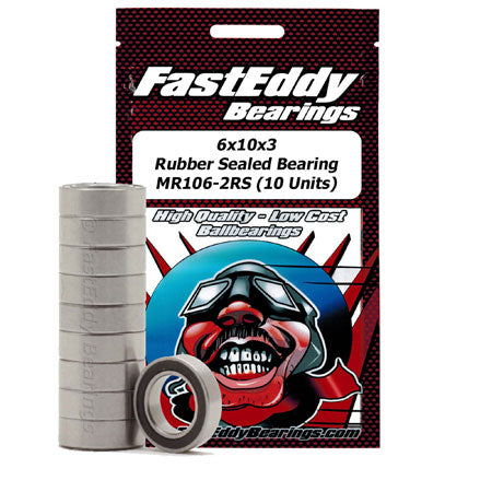 Fast Eddy Bearings TFE274 6x10x3 Rubber Sealed Bearing MR106-2RS (10 Units)