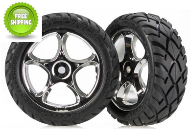 Traxxas TRA2479R Front Chrome Tracer Wheels/Anaconda Tires (2): Bandit VXL XL-5 XL5