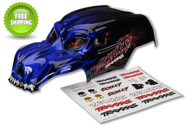 Traxxas TRA3633X Pre-Painted Blue Skully Body with Decals: 1/10 Monster Jam