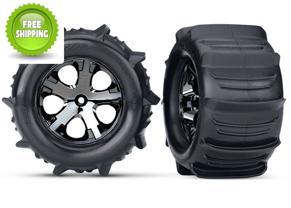 Traxxas TRA3689 Tires & wheels, assembled, glued (2.8') (All-Star black chrome wheels, paddle tires, foam inserts) (elec