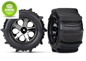 Traxxas TRA4175 Tires & wheels, assembled, glued (2.8') (All-Star black chrome wheels, paddle tires, foam inserts) (nitr
