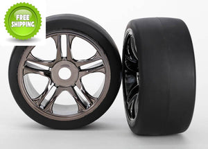 Traxxas TRA6477 Black-Chrome Rear Wheels(2) 118+MPH Slicks Tires: 1/7 XO-1/X0-1