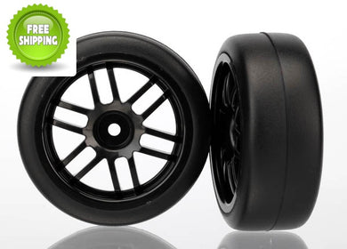 Traxxas TRA7376 Assm Black Wheels & Gymkhana Slick Tires (2)