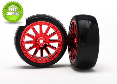 Traxxas TRA7573X Assembled Tires(2) Glued on Red 12-Spoke Wheels: LaTrax 1/18 Rally