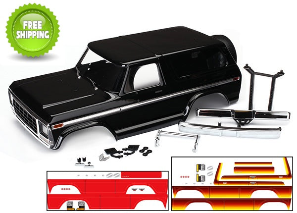 Traxxas TRA8010X Black Painted Ford Bronco Body with Accessories: 1/10 TRX-4