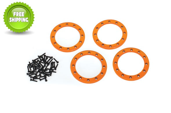 Traxxas TRA8168A Orange Aluminum 2.2 Bead-Lock Rings(4) Screws(48): 1/10 TRX-4