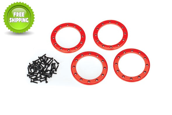 Traxxas TRA8168R Red Aluminum 2.2 Bead-Lock Rings(4) Screws(48): 1/10 TRX-4