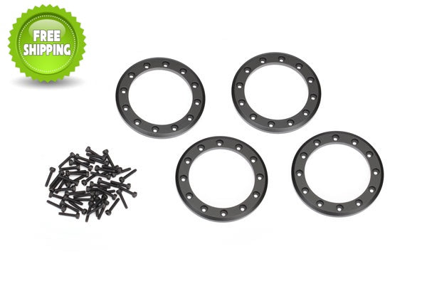 Traxxas TRA8168T Black Aluminum 2.2 Bead-Lock Rings(4) Screws(48): 1/10 TRX-4