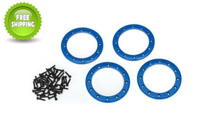 Traxxas TRA8168X Blue Aluminum 2.2 Bead-Lock Rings(4) Screws(48): 1/10 TRX-4