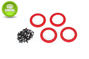 Traxxas TRA8169R Red Aluminum 1.9 Bead-Lock Rings(4) Screws(48): 1/10 TRX-4