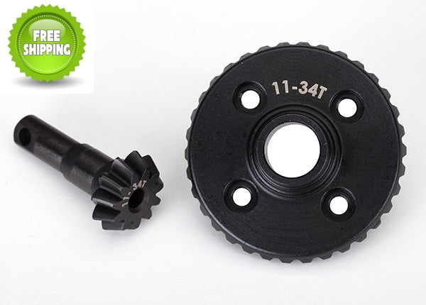 Traxxas TRA8279R Machined Diff/Differential Ring & Pinion Gear Set 11/34T: TRX-4