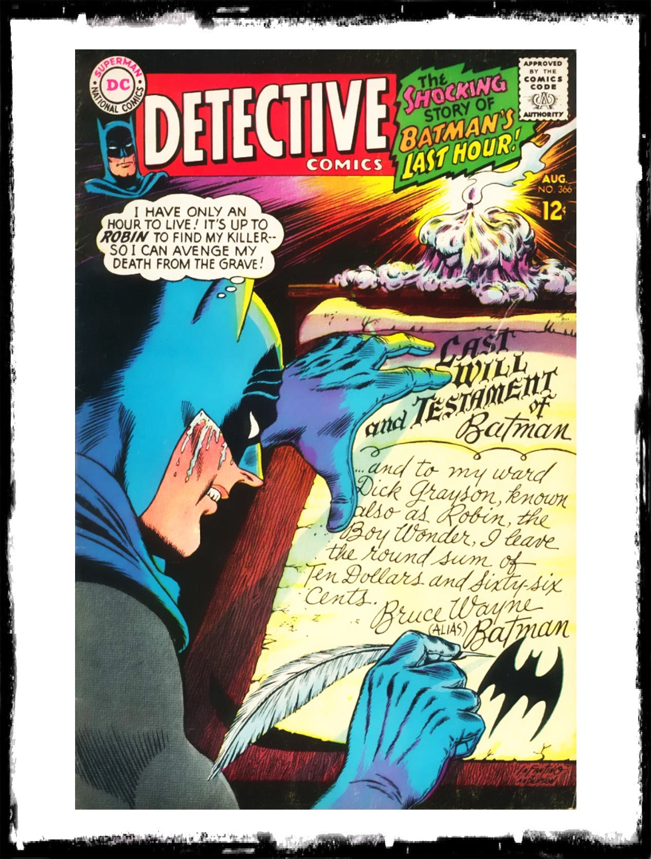 "DETECTIVE COMICS - #366 ""BATMAN'S LAST HOUR!"" (1967 - VF/VF+)"