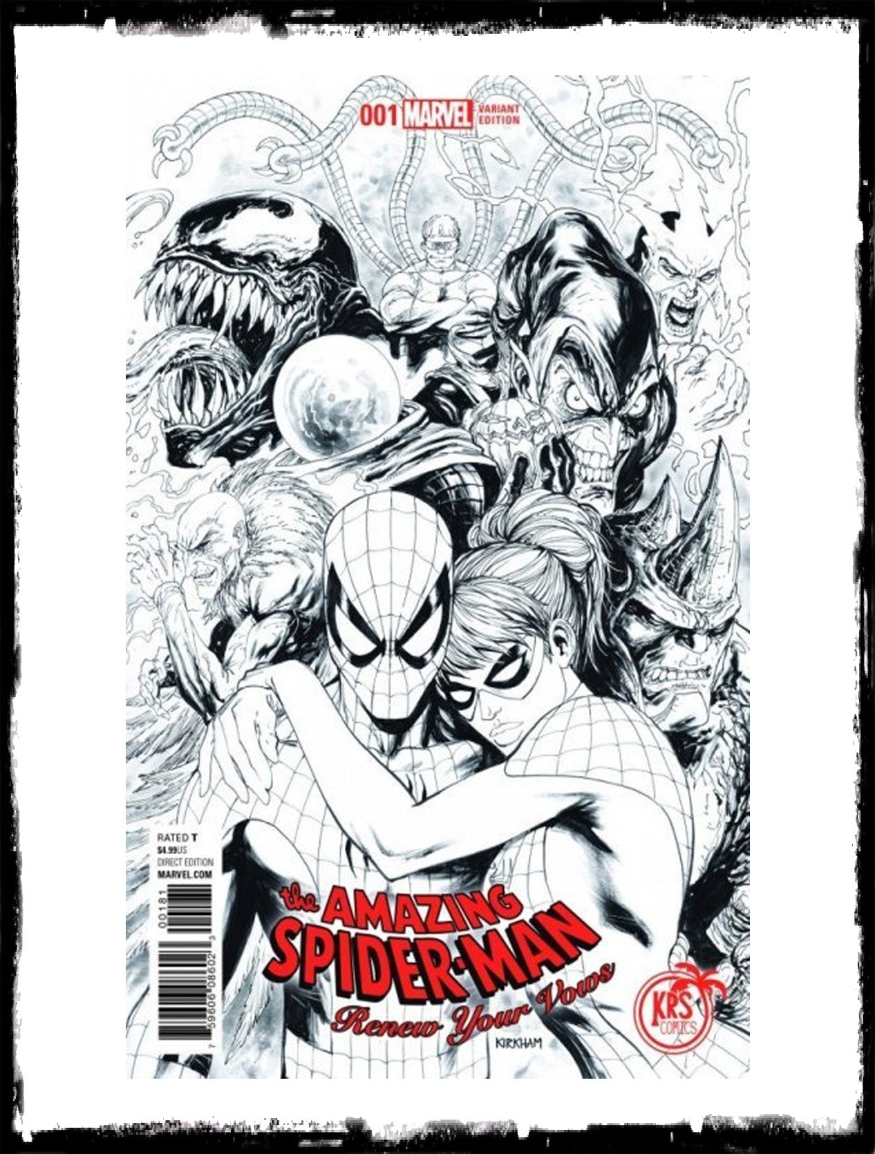 AMAZING SPIDER-MAN - RENEW YOUR VOWS #1  TYLER KIRKHAM B&W VARIANT LIMITED TO 1500 (2017 - CONDITION NM)