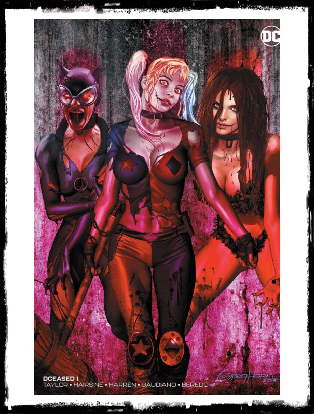 DCEASED - #1 GREG HORN ZOMBIFIED BLOOD RED MINIMAL VARIANT / 1500 PRINT RUN (2019 - NM)