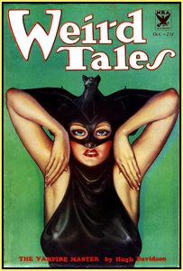 WEIRD TALES 1933 - THE  VAMPIRE MASTER - GOLDEN AGE TURBO TEE!