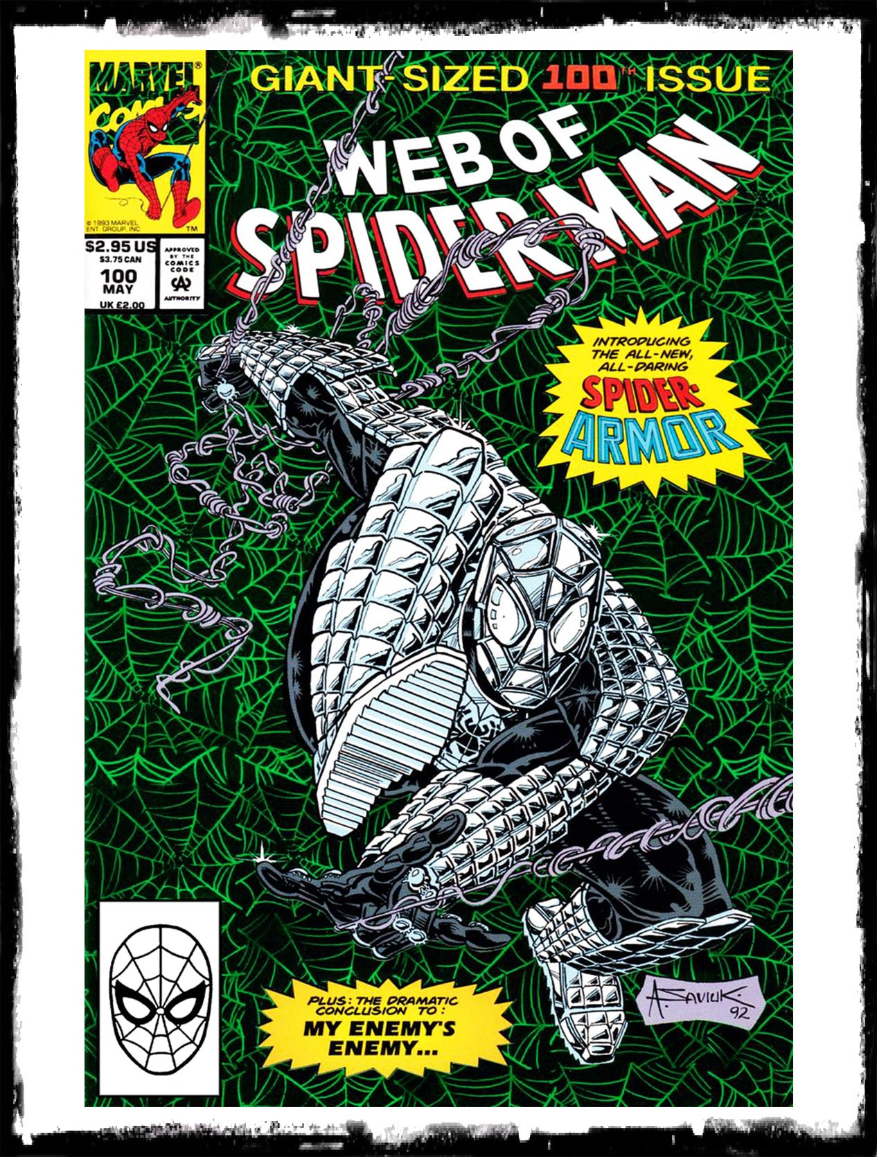 WEB OF SPIDER-MAN - #100 1ST APP OF SPIDER-ARMOR GREEN FOIL (1993 - NM)