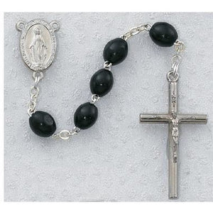 Black Wood Miraculous Rosary