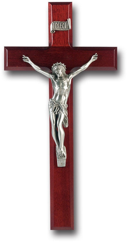 "12"" Dark Cherry Crucifix with Pewter Corpus"