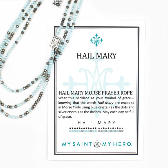 Hail Mary Morse Code Prayer Rope Necklace