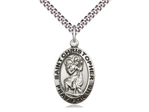 St Christopher SS Bold Oval Necklace