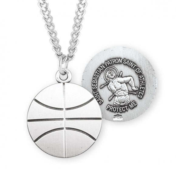 St Sebastian SS Basketball Medal Necklace