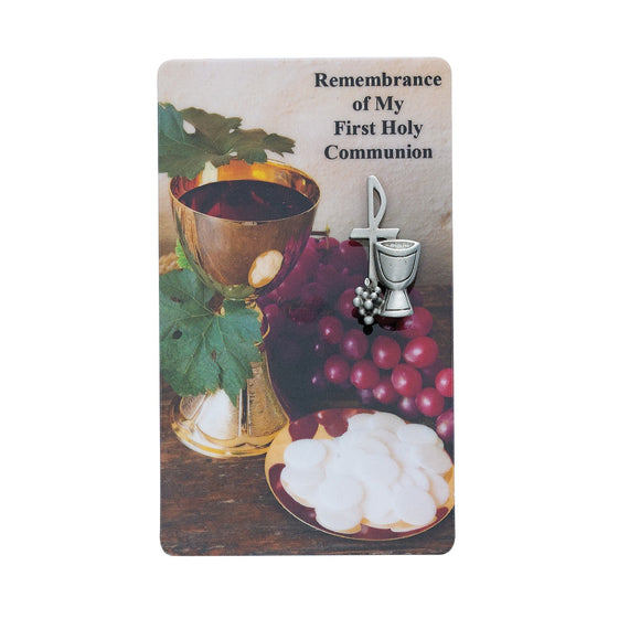 Remembrance Of My First Holy Communion Prayer Card and Pin