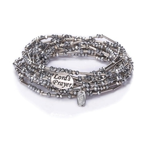 Lord's Prayer Silver Morse Code Wrap Bracelet