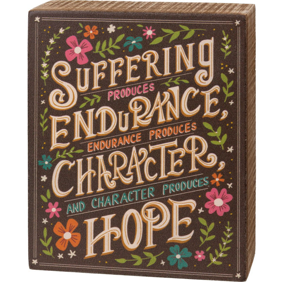 Character Produces Hope Box Sign