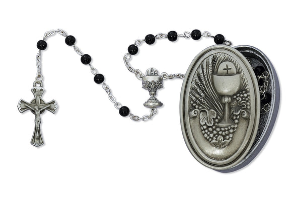Pewter Communion Rosary Box with Black Rosary