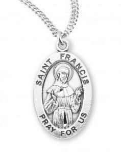SS St Francis Small Oval Necklace 20 Inch Chain