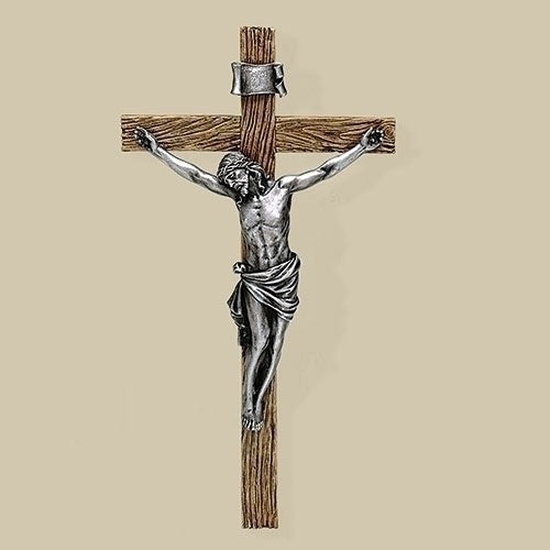 "13.25"" Carved Resin Crucifix with Antique Silver Corpus"