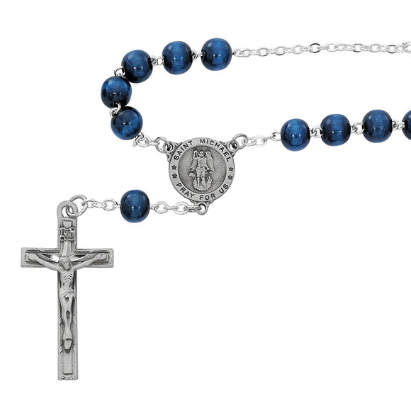 Blue Wood St Michael Auto Rosary