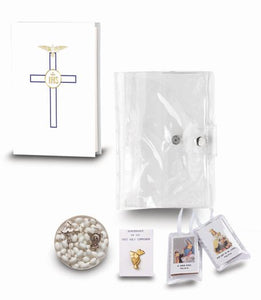 White First Communion Five Piece Gift Set With Carrying Case