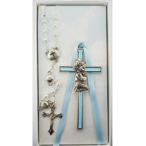 Blue Enameled Boy Baby Cross & Rosary Set