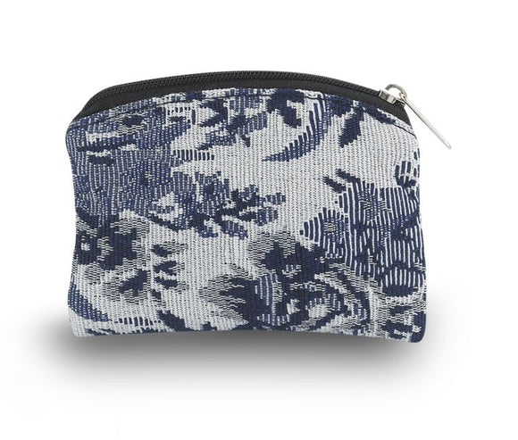 Blue Rose Brocade Rosary Pouch