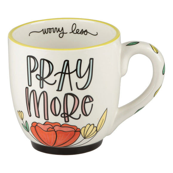 Pray More Worry Less Flower Mug