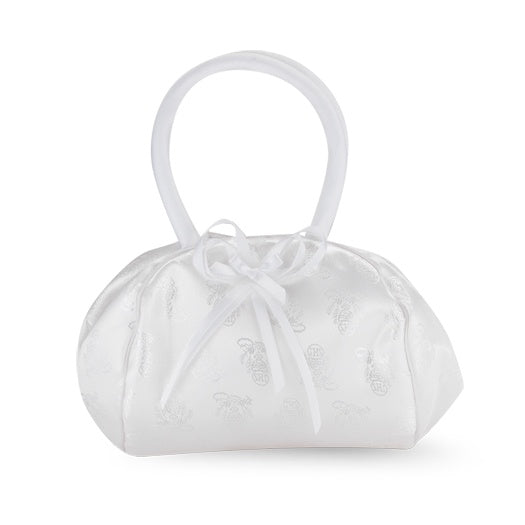 White Satin Chalice Brocade First Communion Purse With Bow
