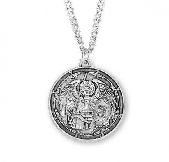 St Michael SS Round Icon Medal Necklace