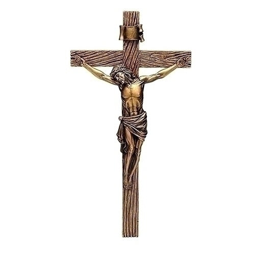 "13.25"" Carved Resin Crucifix with Antique Gold Corpus"
