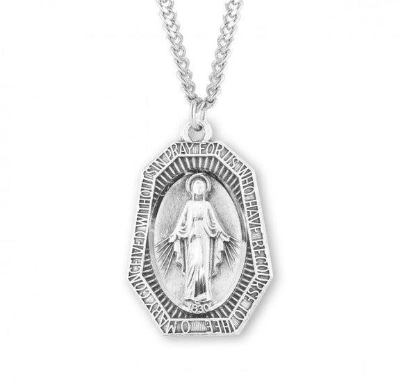 SS Octagonal Miraculous Medal Necklace