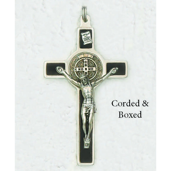 Saint Benedict Silver Tone Wood Inlay Cross