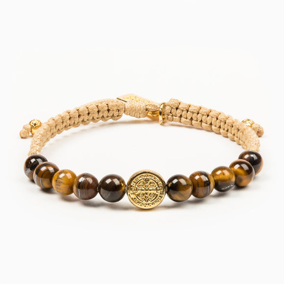 Wake Up And Pray Tiger's Eye Meditation Bracelet